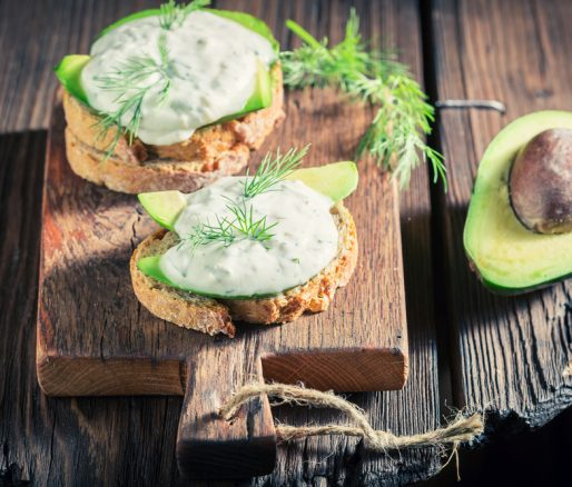 Avocado with Tzatziki and Toasted Pitta Bread
