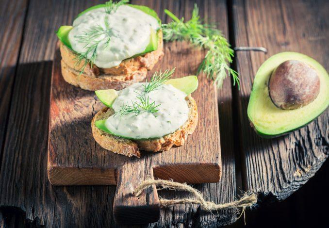 Avocado with Tzatziki and Toasted Pitta Bread
