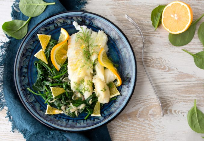 Baked Halibut with Blanched Spinach