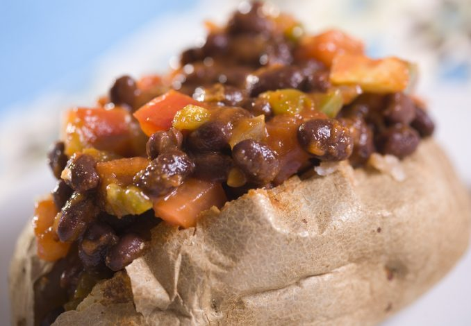 Baked Potato with Rice and Chilli Beans