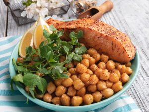Baked Salmon with Chickpeas