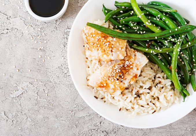 Baked Sea Bass Fillet with Vegetables and Rice