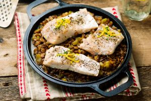 Cod with Lentils and Peas