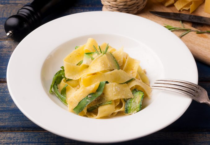 Courgette and Lemon Pappardelle with Pine Nuts