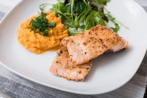 Grilled Salmon, Sweet Potato Mash and Mange Tout
