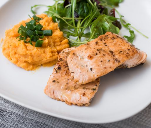 Grilled Salmon, Sweet Potato Mash and Mange Tout