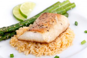 Haddock with Asparagus and Rice