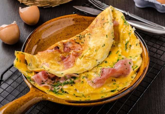 Ham Omelette with Spinach Salad