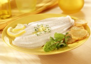 Lemon Sole with Peas and Mashed Potato