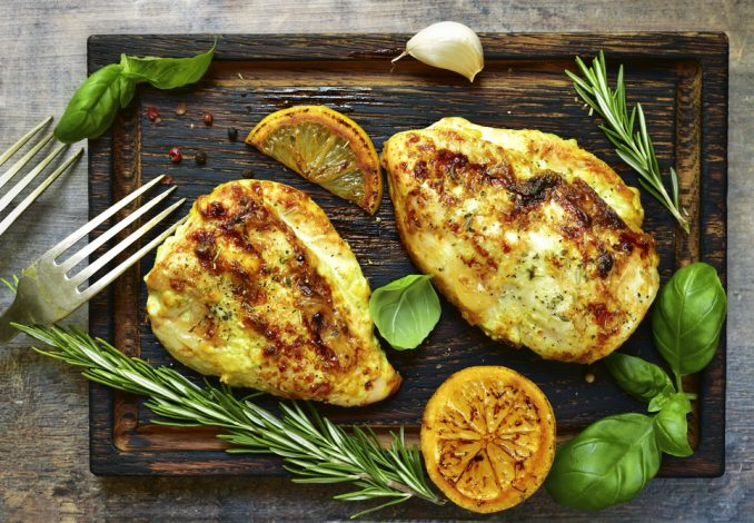 Lemon Chicken with Baked Sweet Potato and Peas