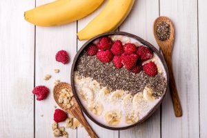 Muesli with Banana, Berries and Chia Seeds (soya milk)