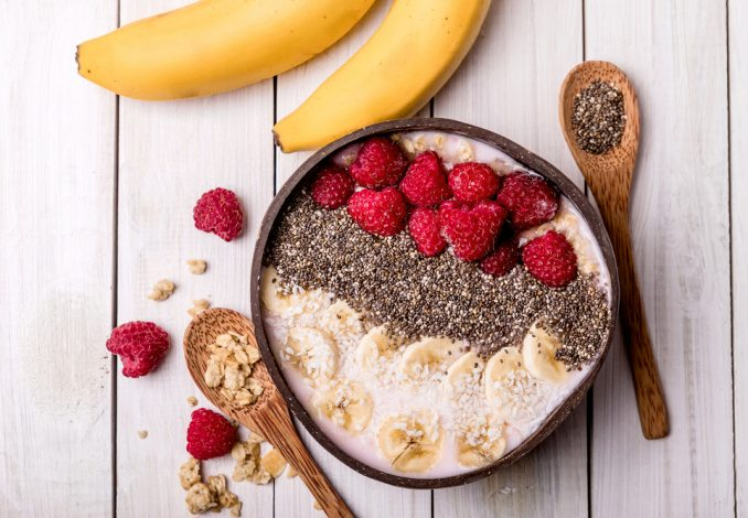 Muesli with Banana, Berries and Chia Seeds (soya milk)