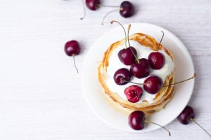 Pancake Yoghurt and Cherries
