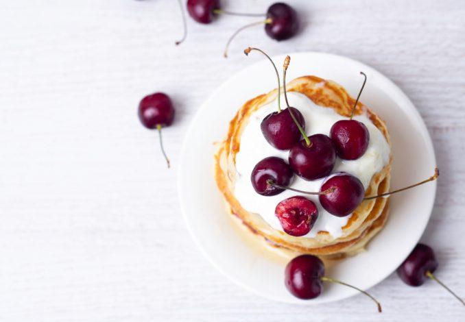 Pancake Yoghurt and Cherries