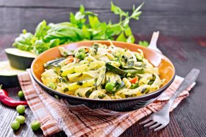 Pasta Ribbons with Peas and Spinach