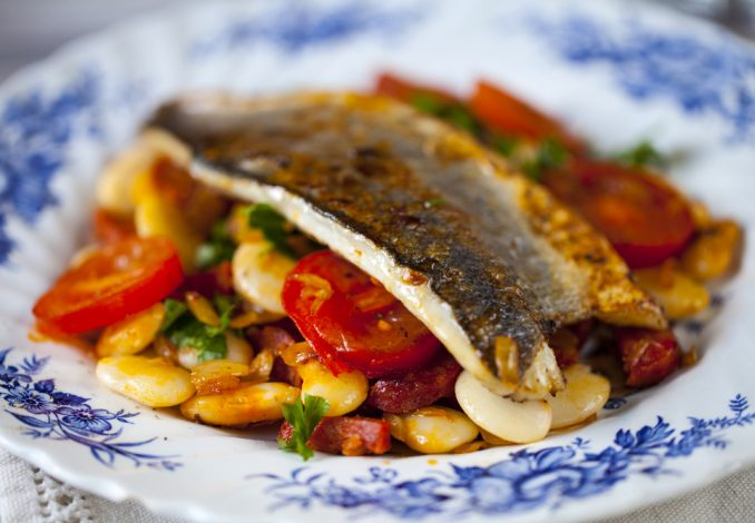 Roast Haddock with Butter Bean and Vegetables