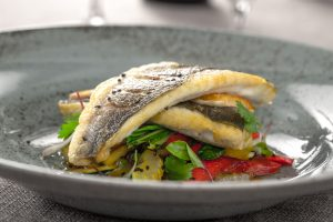 Roast Sea Bass with Beetroot and Leafy Salad
