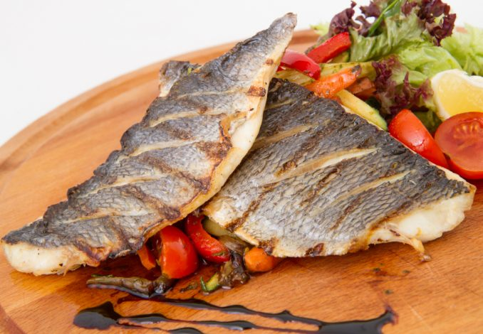 Roast Sea Bream with Black Dal and Peas
