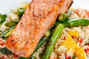 Salmon with Asparagus and Couscous
