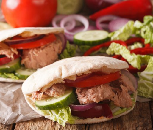 Tuna in Pitta Bread with Olive Oil, Lemon and Parsley