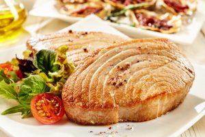 Tuna Steak with Leafy Green Salad and Quinoa