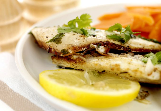 Baked Sea Bass Fillet with Sweet Potato and Peas
