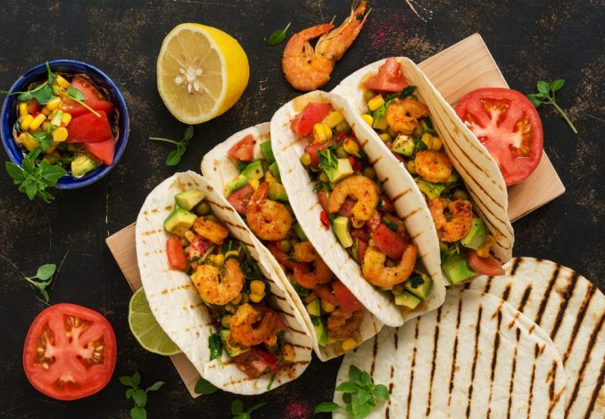 Black Bean Prawn Tacos with Mango and Lettuce