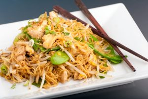 Chicken Stir Fry with Sugar Snap Peas and Gluten-Free Rice Noodles