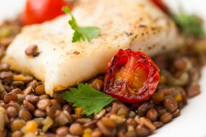 Cod with Warming Lentils and Peas