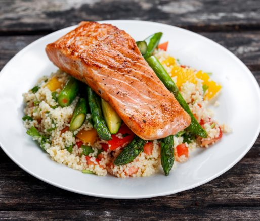 Fiery Salmon with Asparagus and Couscous