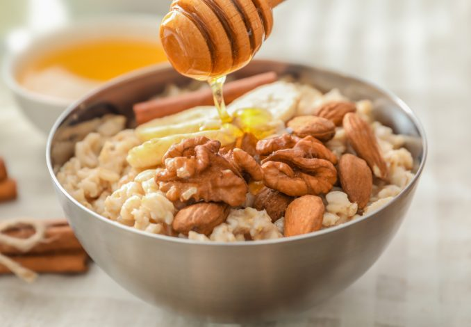 Oatmeal with Almond Milk, Honey and Walnuts