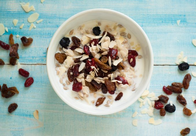 Oatmeal with Raisins and Cranberries
