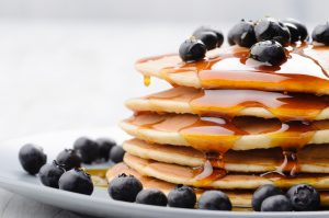Pancake with Blueberries and Honey