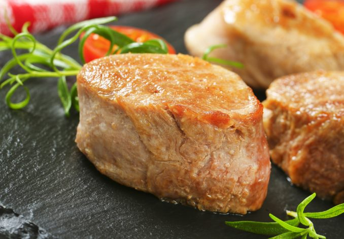 Pork Fillet Medallions with Couscous and Peas