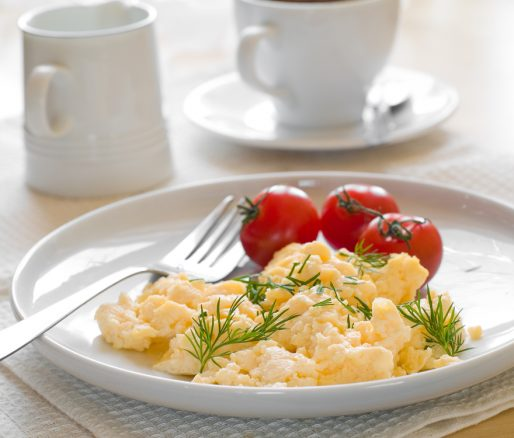 Scrambled Eggs with Tinned Plum Tomatoes