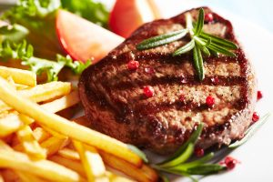 Steak with Chips and Peas