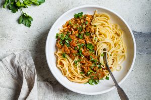 Vegan Lentil and Spinach Bolognese