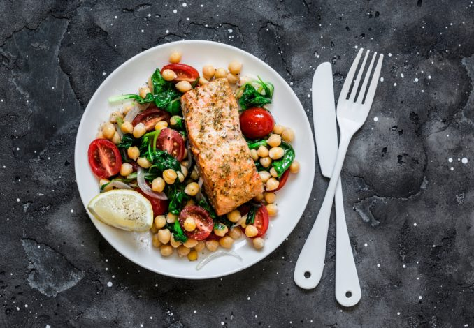 Volcano Salmon with Chickpeas